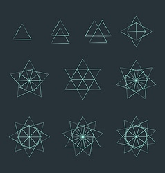 triangle contour various sacred geometry set vector image
