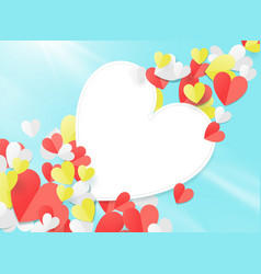valentines day with paper elements in shape vector image
