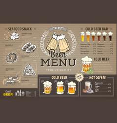 vintage beer menu design on cardboard vector image