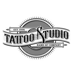 Vintage tattoo studio emblem 3 for white vector