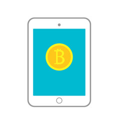 with tablet having golden coin vector image