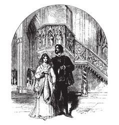 Young couple near the ornate pulpit vintage vector