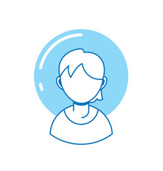 young guy avatar person line fill vector image