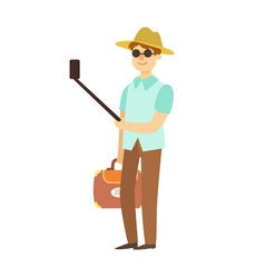 young man with suitcase taking photos with vector image