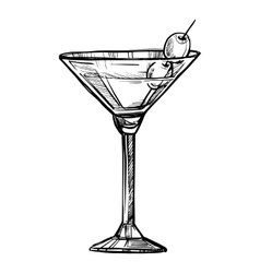 Alcoholic cocktail hand drawn sketch vector image vector image