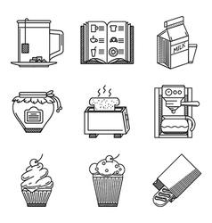 Breakfast black line icons vector image vector image