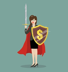 Business woman with shield and sword vector image
