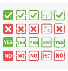 check mark crossed yes and no signs icons set vector image vector image