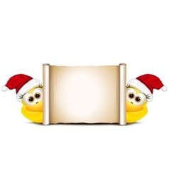 Christmas card design template Two funny chicken vector image