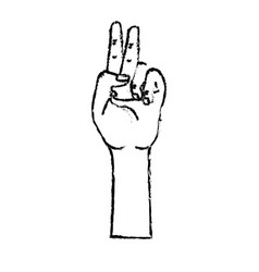 Figure hand with middle finger and fingerprint up vector