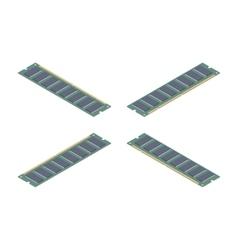 Isometric flat ram memory card vector image
