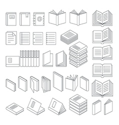 Book line icons set vector