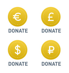 donate buttons set help icon vector image vector image