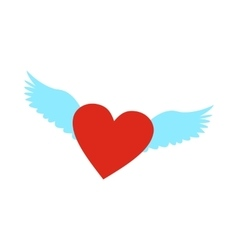 Heart with wings flat icon vector image vector image