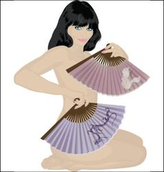 nude girl with fans vector image vector image