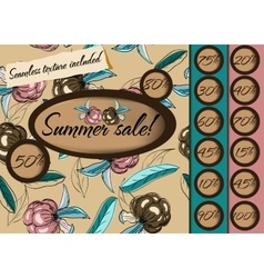 Summer sale poster with seamless texture vector image vector image