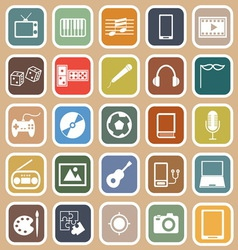 Entertainment flat icons on orange background vector image vector image