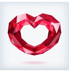 Faceted ruby heart vector image