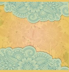 Floral henna indian mehendi grunge background vector image vector image