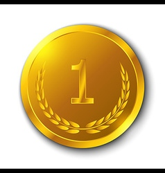 Gold Medal with Olive Branch on White Background vector image
