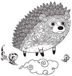 hedgehog cute coloring vector image vector image