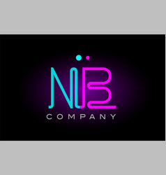 neon lights alphabet nb n b letter logo icon vector image