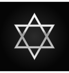 Silver Star of David icon on black background vector image vector image
