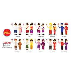 southeast asia people in traditional clothing vector image vector image