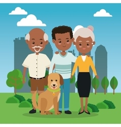 Grandparents with son icon Family design City vector image