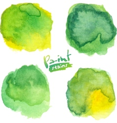 Green watercolor painted stains set vector image vector image