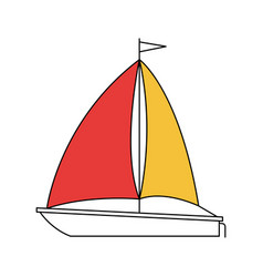 silhouette color section of sailboat icon vector image vector image