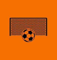 soccer gate with ball on penalty point icon vector image vector image