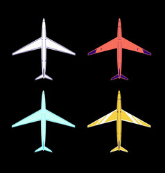 4 aircraft white red blue and yellow colors vector image