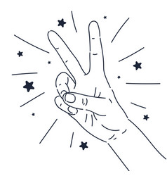A gesture with fingers hand two vector