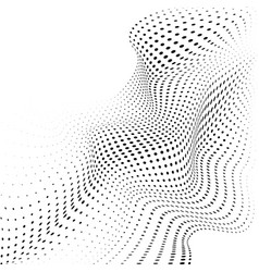Abstract halftone background with dynamic waves vector