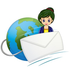 An envelope in front of the woman above the globe vector
