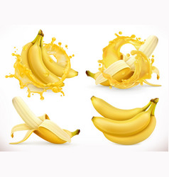 Banana juice fresh fruit and splash 3d realistic vector