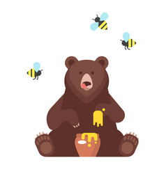 Bear character eating sweet honey vector