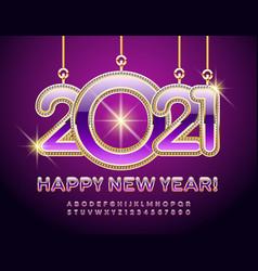 beautiful card happy new year 2021 alphabet set vector image
