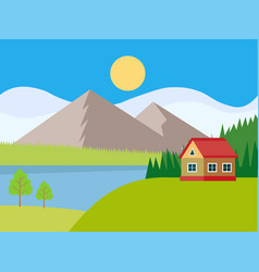 beautiful rural landscape with houses and mountain vector image