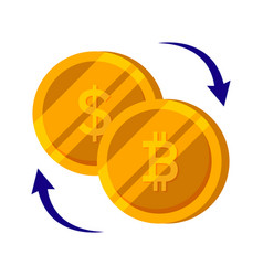 bitcoin and dollar gold coin set finance money vector image