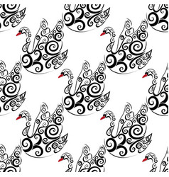 black swan seamless repeat pattern vector image vector image