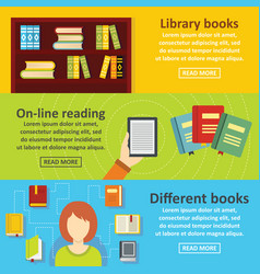 Books reading banner horizontal set flat style vector