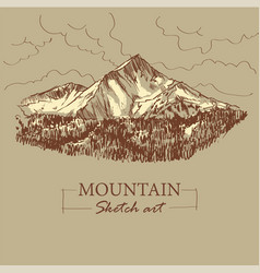 Brown toned modern stylized sketch mountain vector