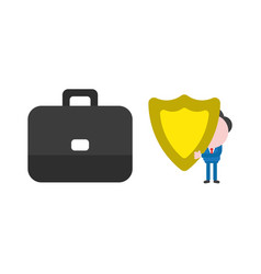 businessman character holding shield guard with vector image