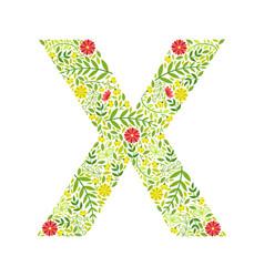 capital letter x green floral alphabet element vector image