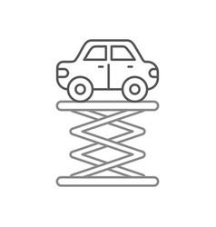 Cartoon car over self propelled lift servic vector