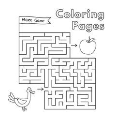 cartoon duck maze game vector image vector image