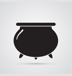 Carved silhouette flat icon witches cauldron vector