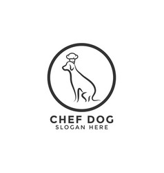 chef dog logo icon design template line vector image